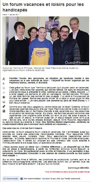 article ouest france st nazaire 11/01/2010